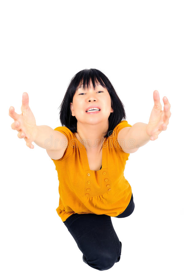 Download Model with open arms stock image. Image of expression - 11738109