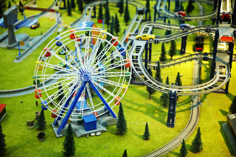 Model - park with a Ferris wheel and railway royalty free stock images