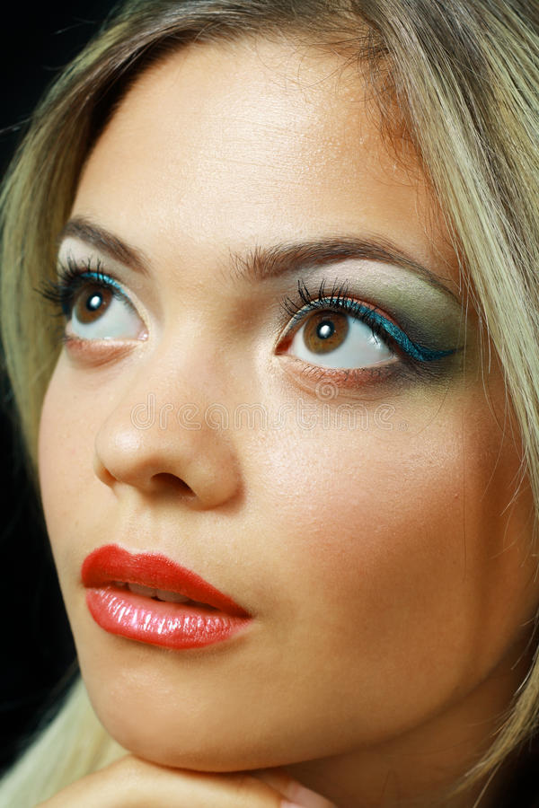 Model with perfect make up. Gorgeous Young model beautiful blond woman with perfect make up and perfect skin close up royalty free stock photo