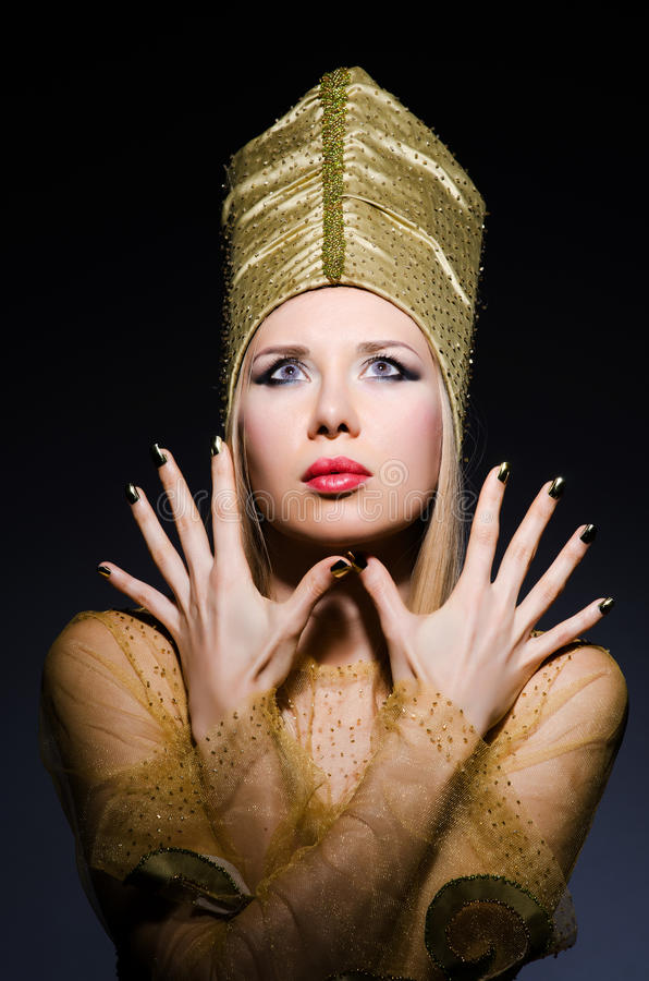 Model In Personification Of Egyptian Beauty Stock Photography
