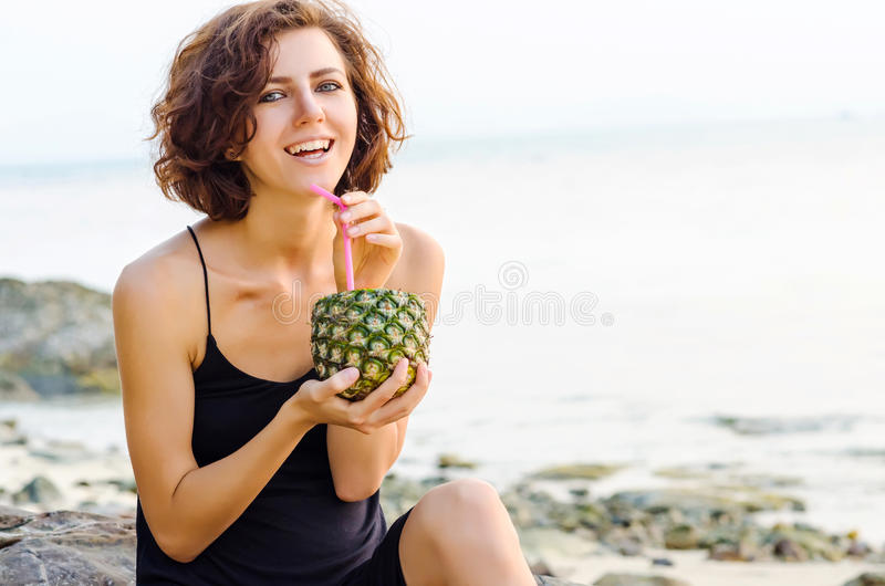 Model with pineapple royalty free stock images
