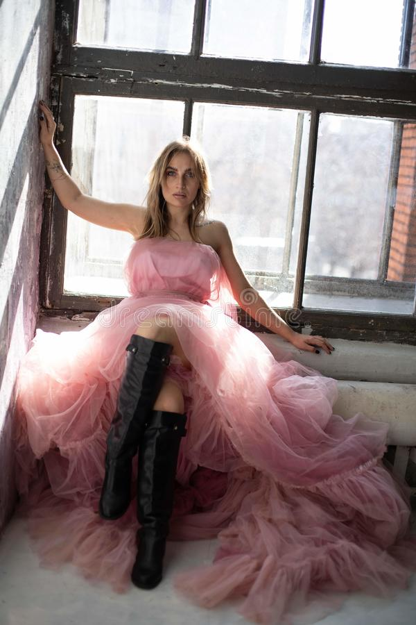 Model in a pink evening dress. stock photography