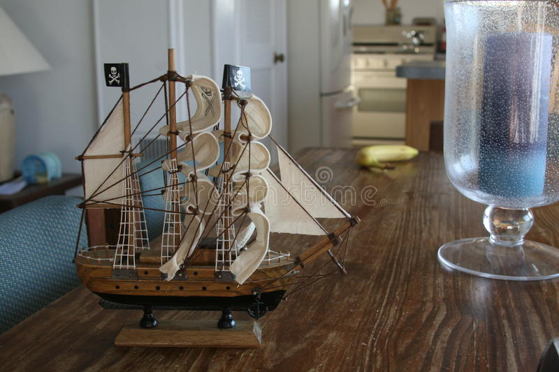 Model Pirate Ship On Table stock photos