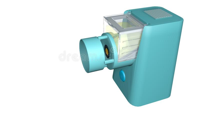 Model of portable nebulizer for the treatment of asthma on a white background. 3D Illustration vector illustration