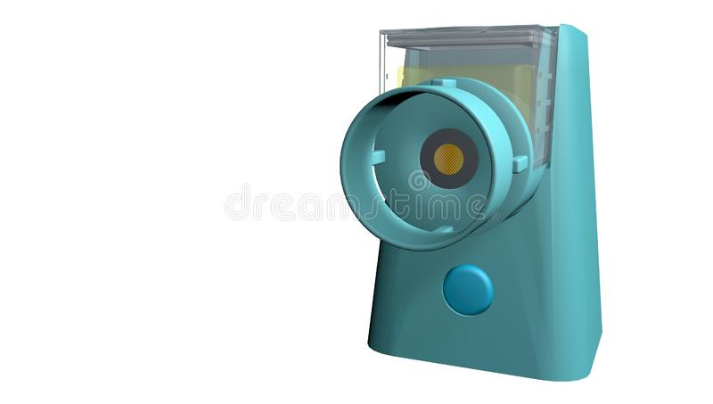 Model of portable nebulizer for the treatment of asthma on a white background. 3D Illustration royalty free illustration