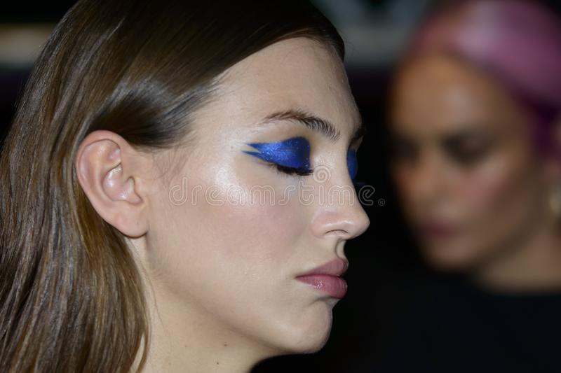 Backstage during the Custo Dalmau Spring-Summer 2020 collection at MBFWMadrid, IFEMA, Madrid Spain stock photography