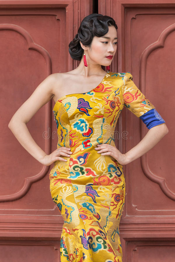 Model poses in classic fashion, Beijing, China. BEIJING-JUNE 9, 2016. Model poses in classic fashion. In recent years, return to traditional culture/fashion stock photo
