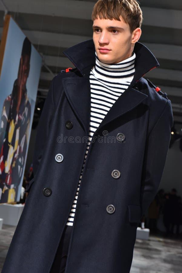 A model poses at the Nautica Fall 2017 presentation. NEW YORK, NY - FEBRUARY 01: A model poses at the Nautica Fall 2017 presentation during NYFW: Mens at royalty free stock image