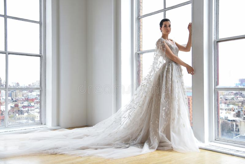 A model posing during the Ines Di Santo Spring 2020 bridal fashion presentation stock photos