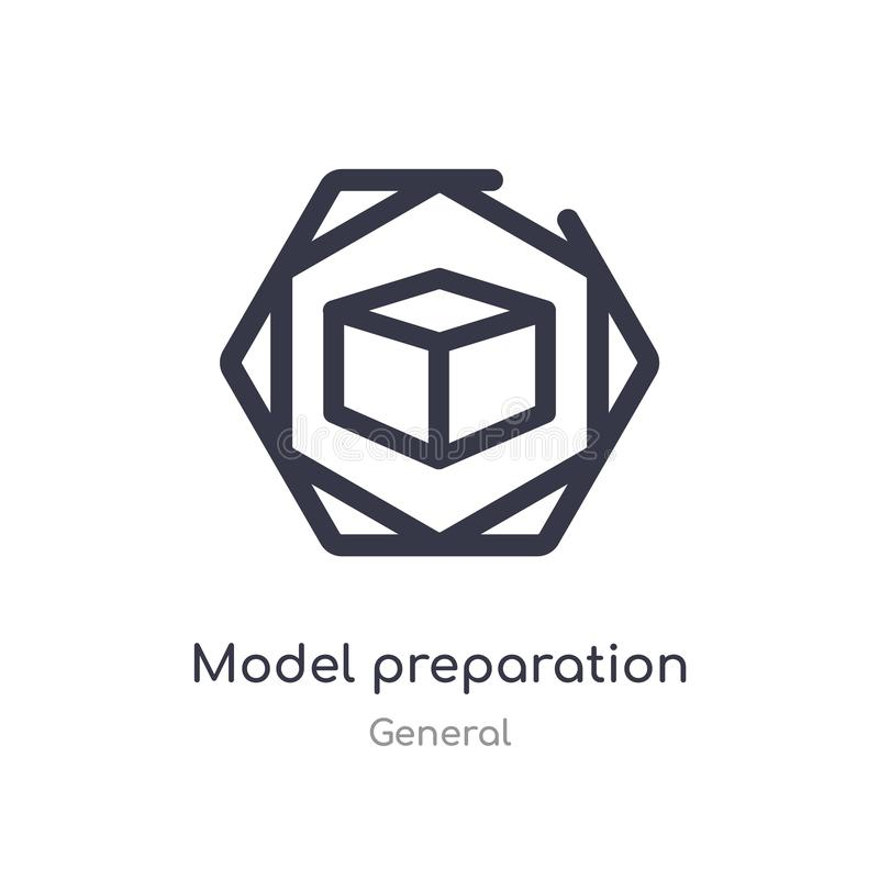 model preparation outline icon. isolated line vector illustration from general collection. editable thin stroke model preparation royalty free illustration