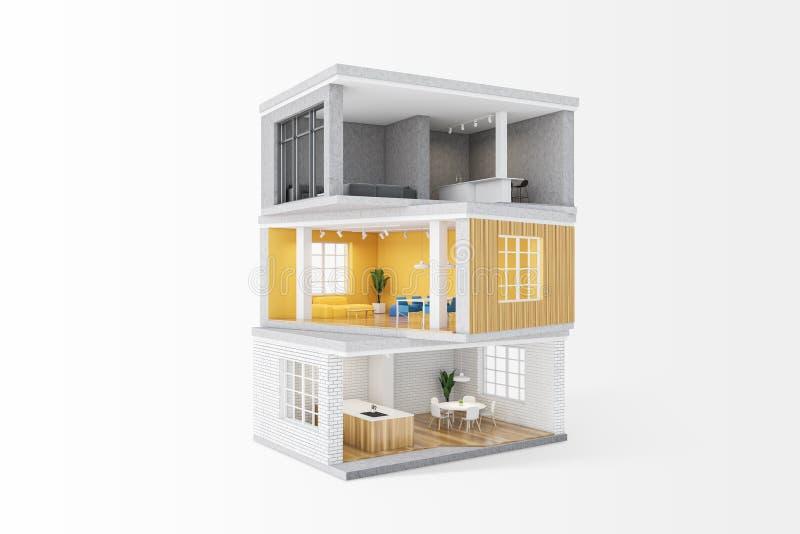 Model prywatnego domu z pokojami ilustracji