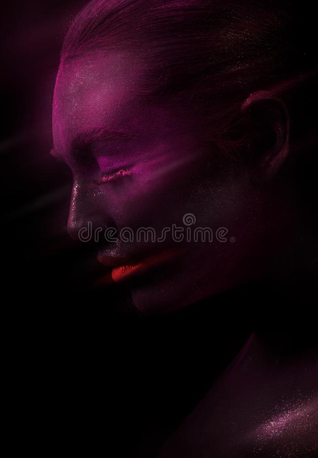 Model with purple face and red lips royalty free stock images