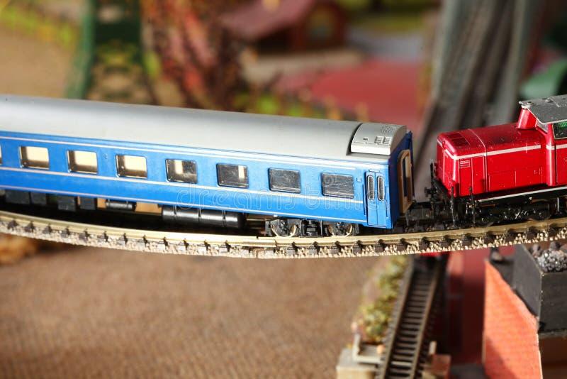 Model railroad on the miniature model scene. royalty free stock photo