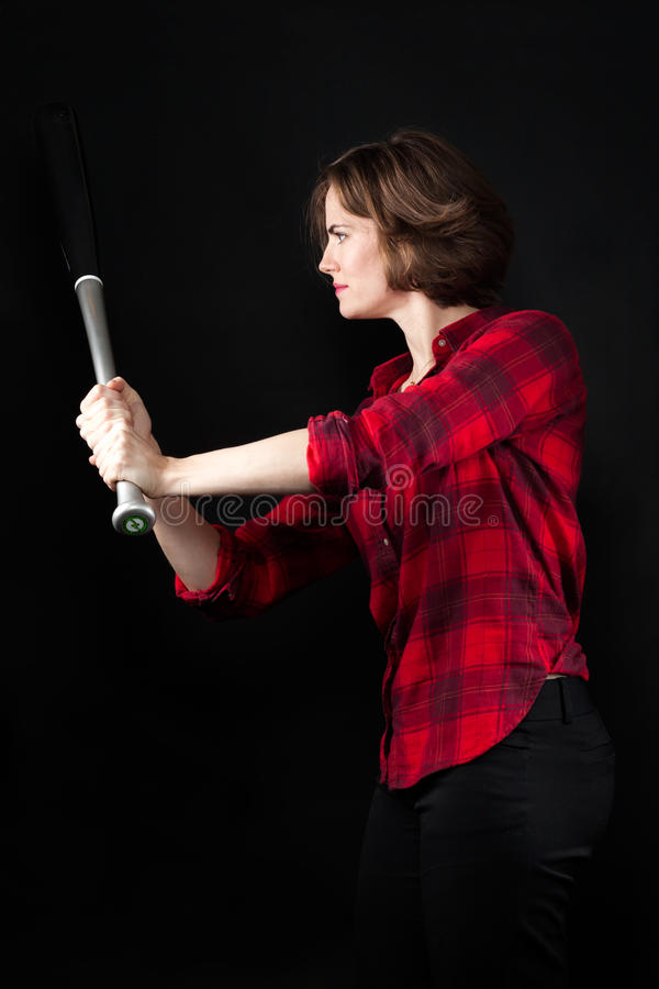 Model Red Flannel Shirt Baseball Stance. Looking at Bat stock images