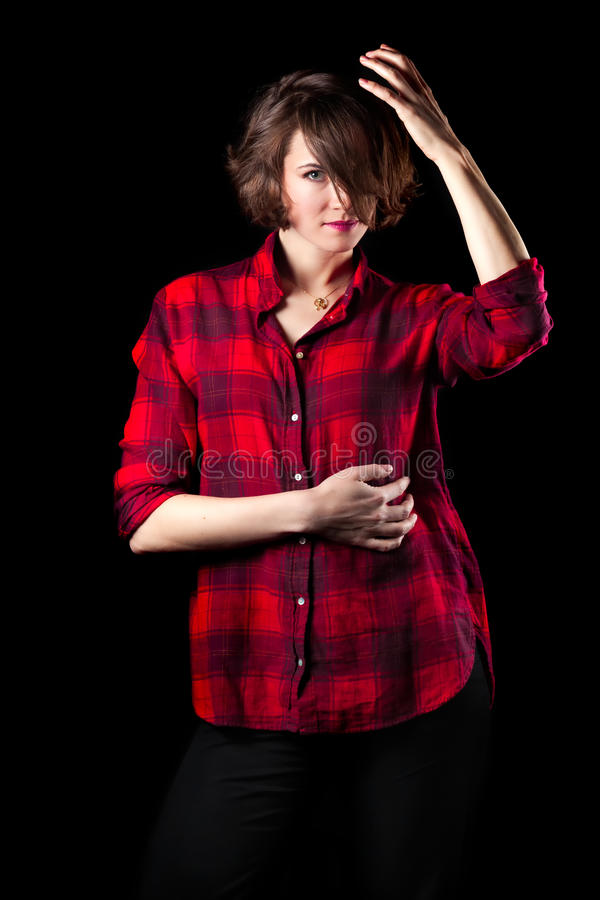 Model Red Flannel Shirt Hand on Head. Model Red Flannel Shirt Posing Hand on Head stock photography