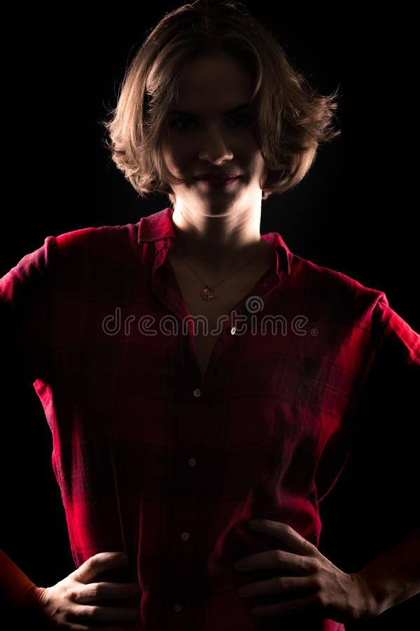 Model Red Flannel Shirt High Contrast. Dark royalty free stock photo