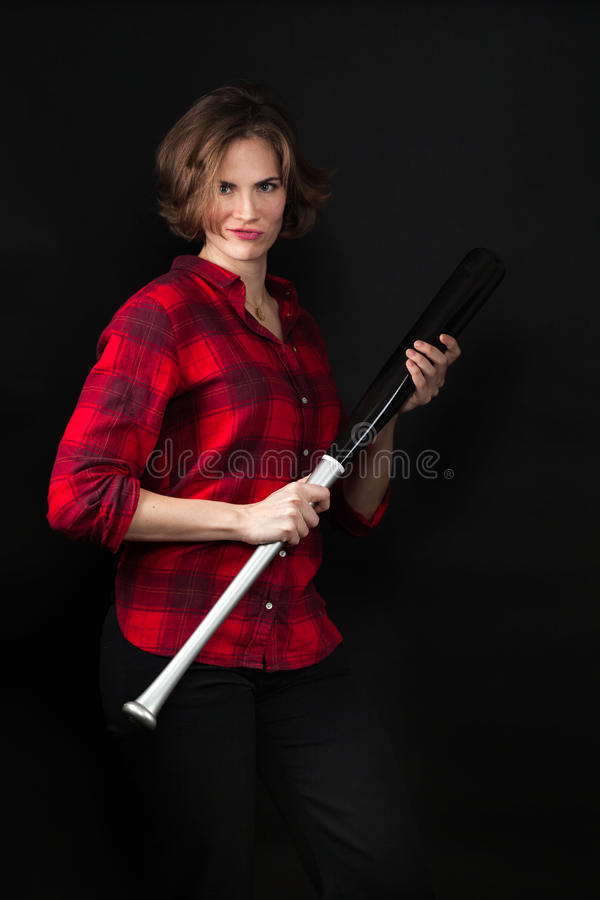 Model Red Flannel Shirt Holding Bat. Looking Tough stock images