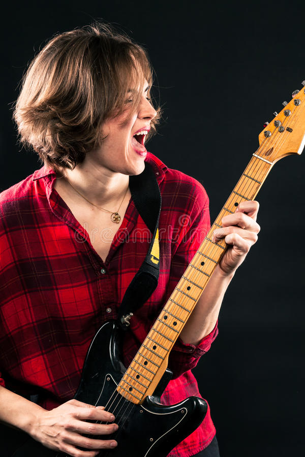 Model Red Flannel Shirt Mouth Open Electric Guitar Mouth Open. Model Red Flannel Shirt Mouth Open Electric Guitar stock images