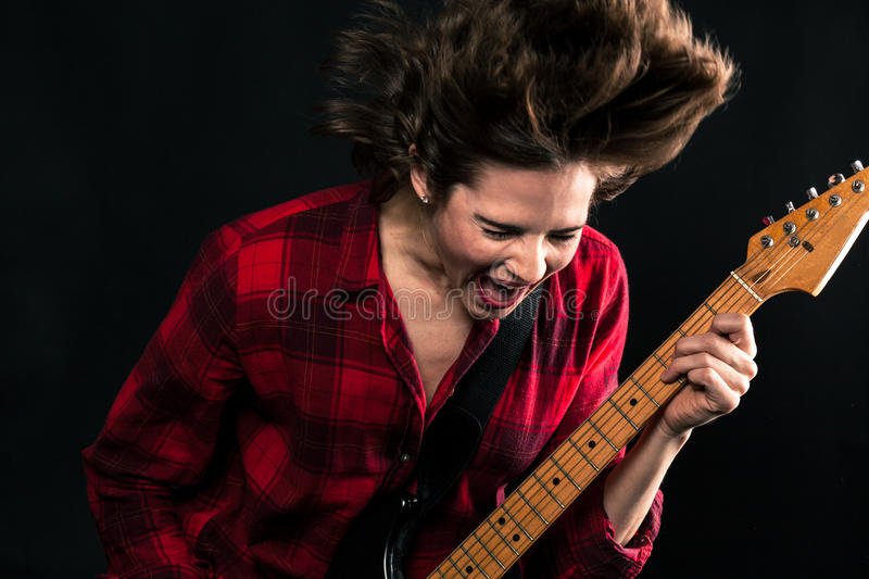 Model Red Flannel Shirt Rocking Out Yelling Mouth Open. Model Red Flannel Shirt Rocking Out Yelling stock photo
