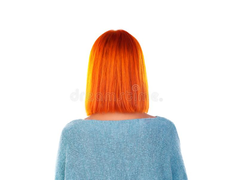 Model with red hair and bob haircut styling. Back view. Model with unrecognizable face with red hair. Woman bob haircut styling. Back view stock image