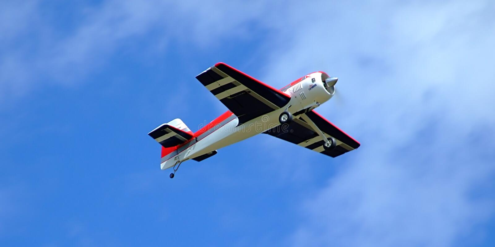 Model remote control plane in flight royalty free stock photography