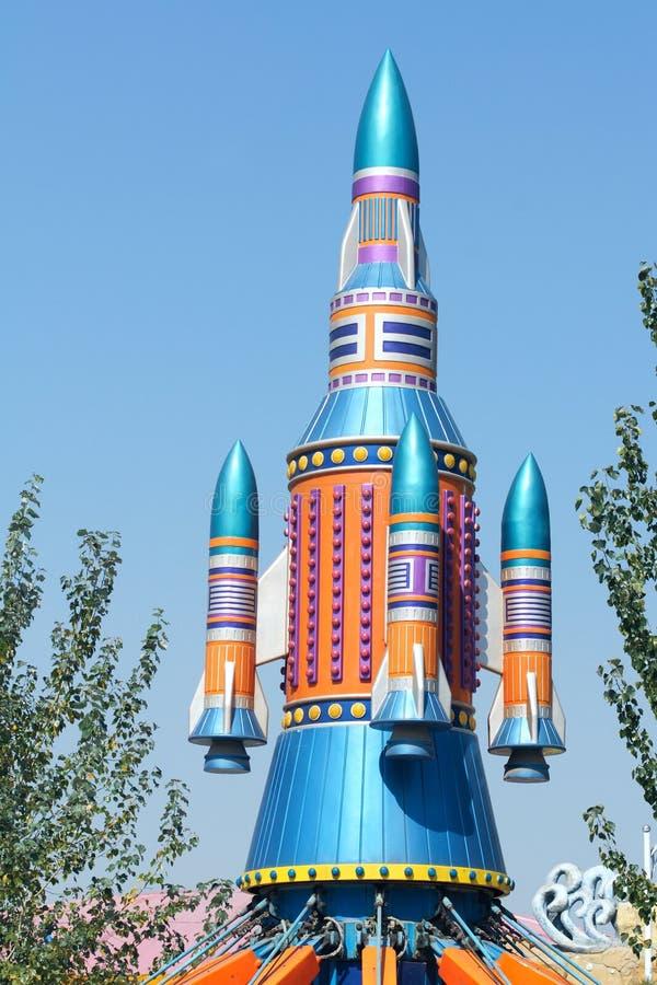 Model rocket. The model rocket in children's paradise stock photo