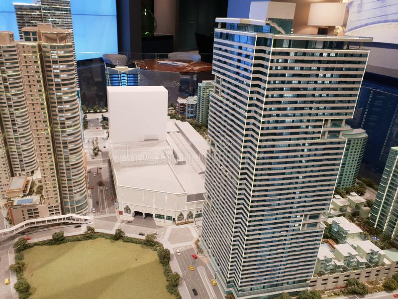 Model Rockwell biznes, budynki mieszkalni i zakupy kompleks obrazy royalty free