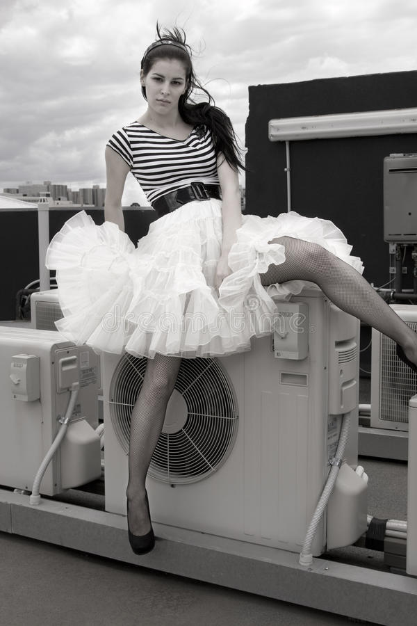 Model with a ruffle skirt