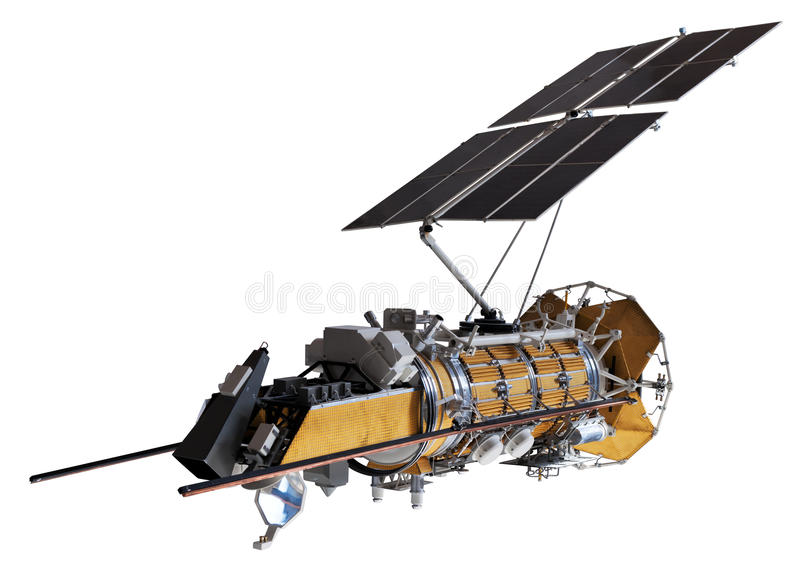 Model of satellite/spaceship. Isolated on white. Clipping path included stock photos