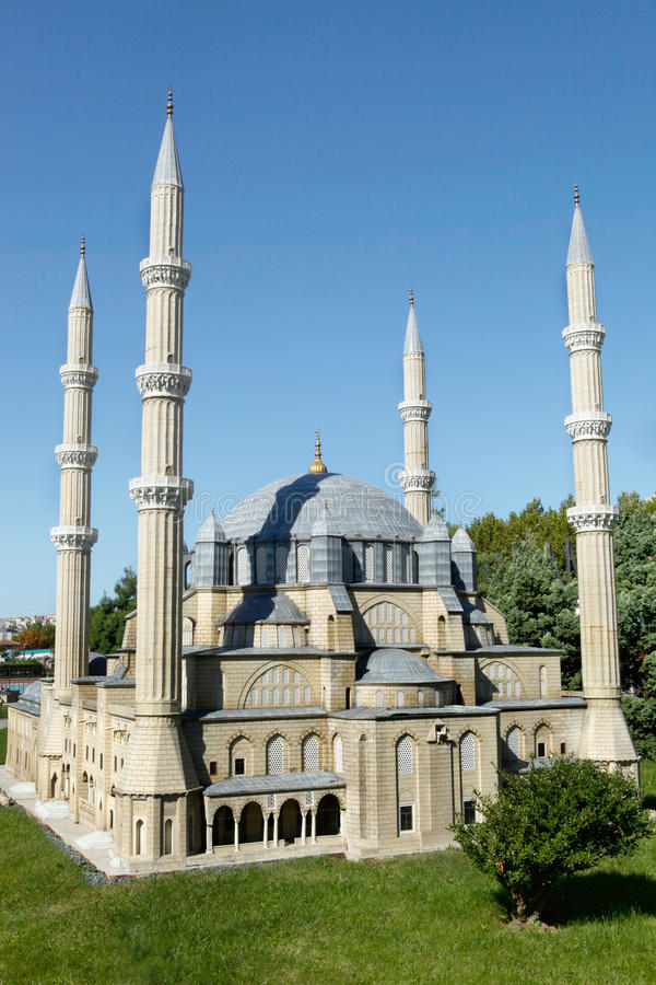 Model of Selimiye Mosque. In Miniaturk Park which contains miniature models of famous structures from Istanbul,Anatolia and Ottoman territories that today lie royalty free stock image