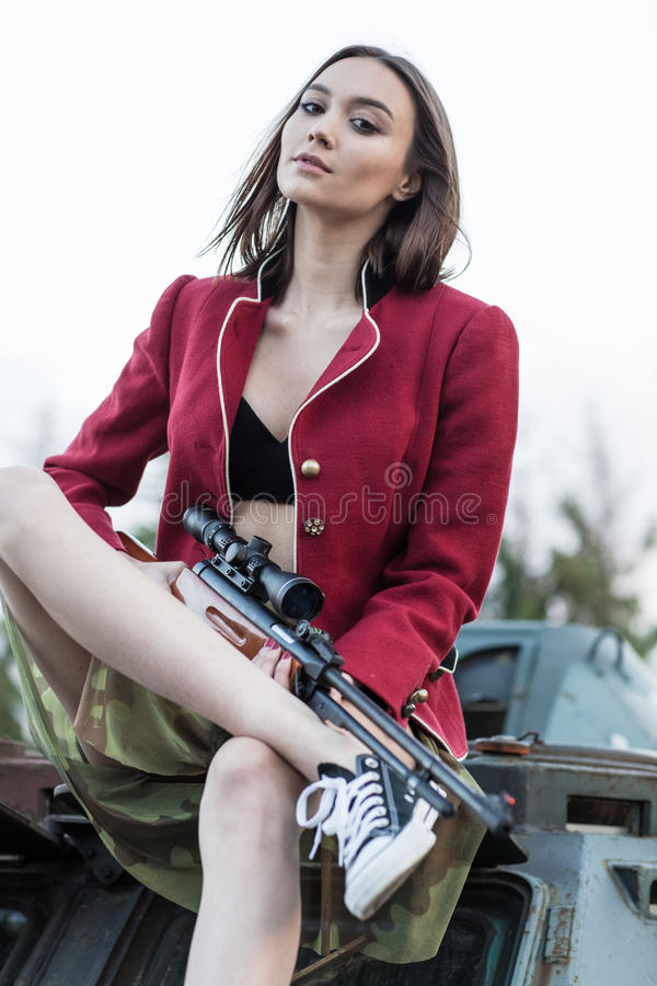 Model with short hair on the tank. Model with short hair on the tank stock photos