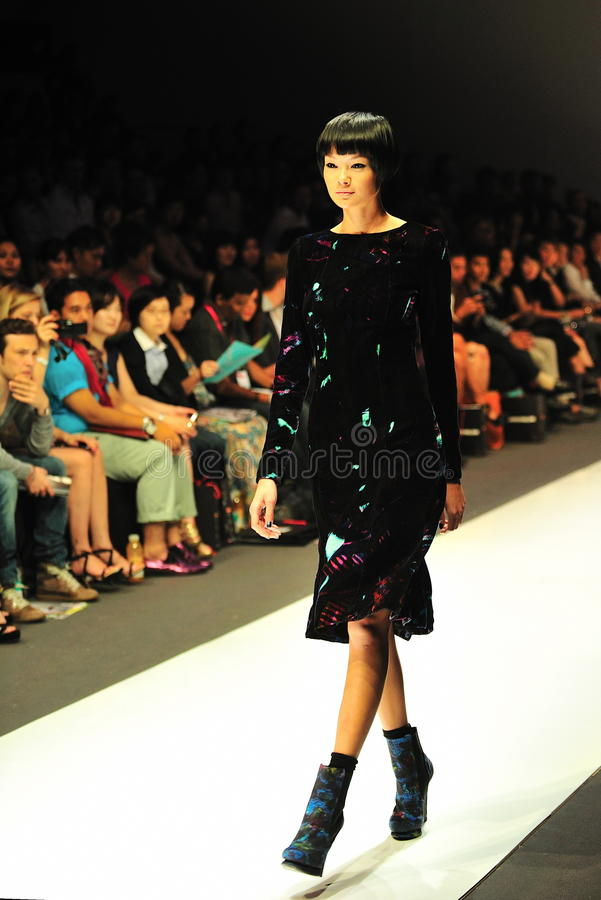 Model showcasing designs from Erdem at Audi Fashion Festival 2011 stock photo