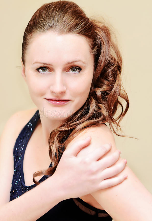 Model with side ponytail hairstyle royalty free stock photo