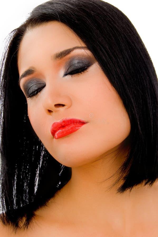 model sikt för täta stängda ögon arkivfoto