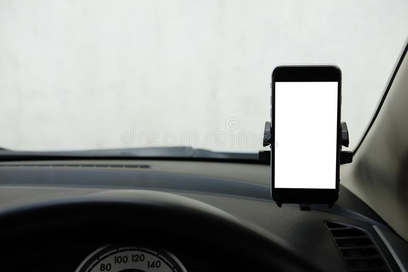 Model Smartphone in een autogebruik voor Navigate of GPS Smartphone i royalty-vrije stock afbeelding