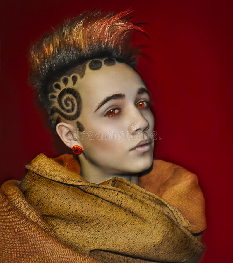 Model Space Sun Hair Tattoo royalty free stock image