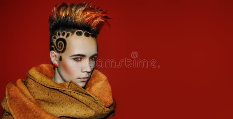 Model Space Sun Hair Tattoo royalty free stock photo