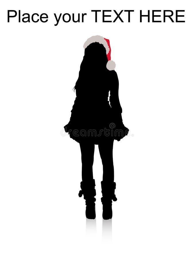 model standing för julhatt stock illustrationer