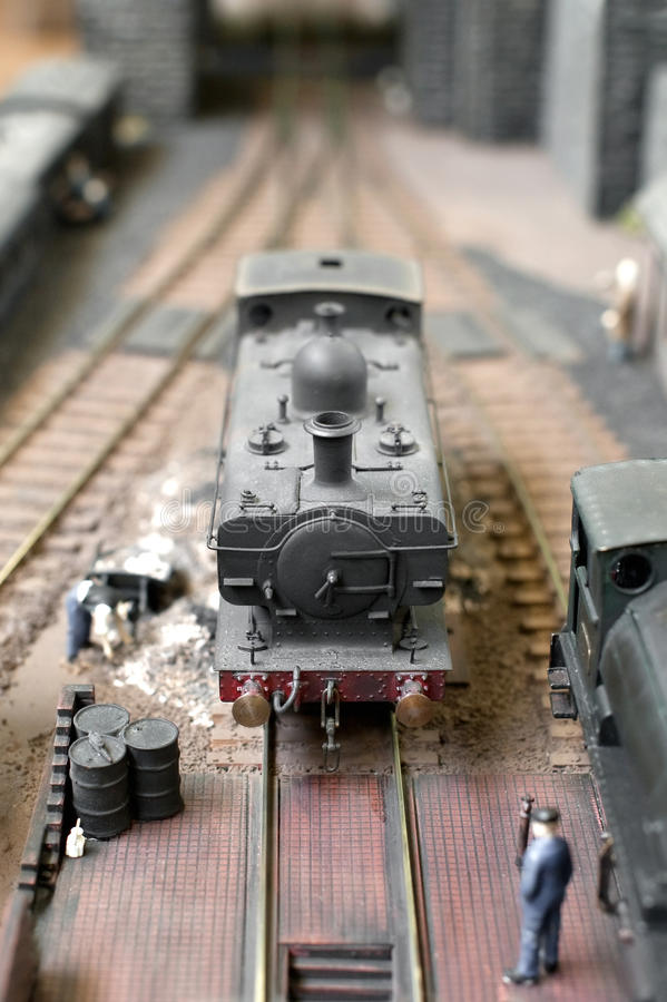 Model steam train. In a station siding royalty free stock photography