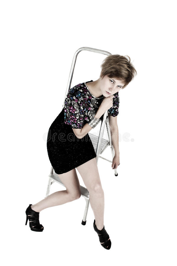 Download Model on Step-ladder stock image. Image of black, metal - 21577045