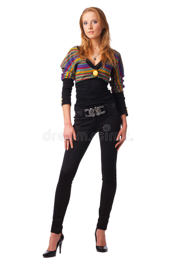 Download Model In Striped Blouse. stock photo. Image of glamour - 14366132