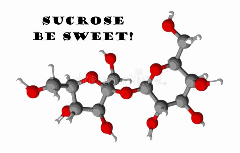 model sucrosesocker för molekyl 3d royaltyfri illustrationer