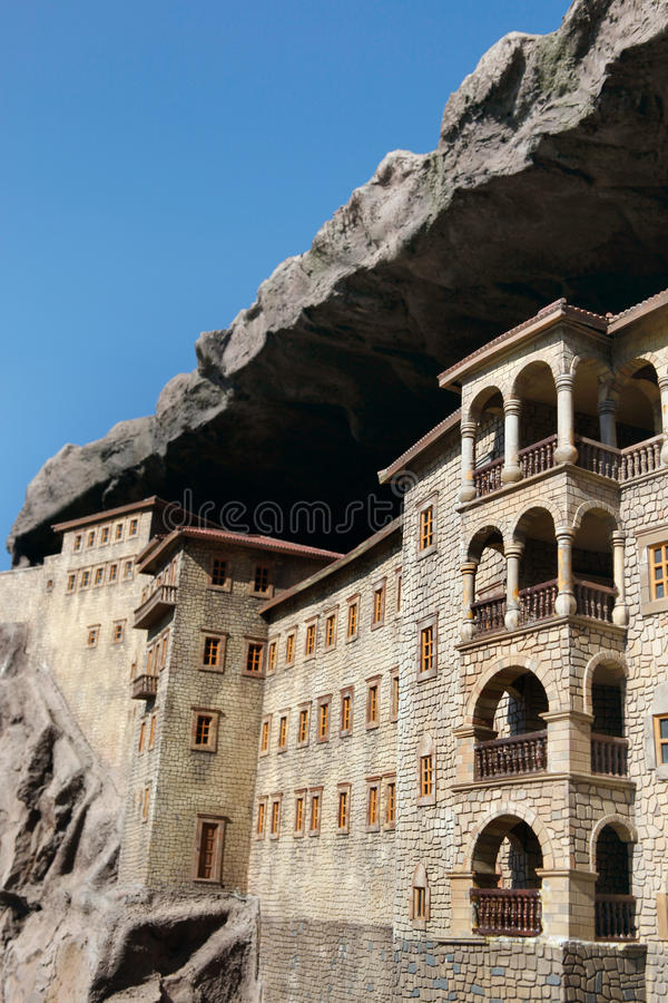Model of Sumela Monastery. In Miniaturk,Istanbul.Miniaturk is a miniature park which contains models of famous structures from Istanbul,Anatolia and Ottoman royalty free stock image
