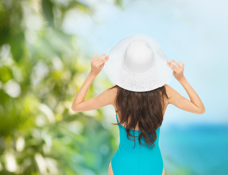 Model In Swimsuit With Hat Royalty Free Stock Images