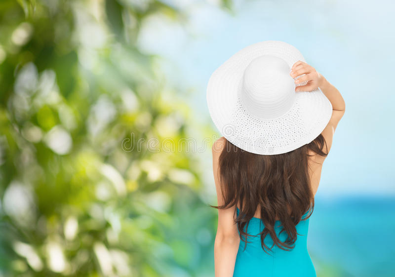 Download Model in swimsuit with hat stock photo. Image of bikini - 37714062