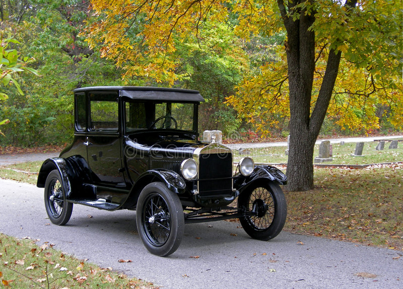Model T in the Cemetery stock photography
