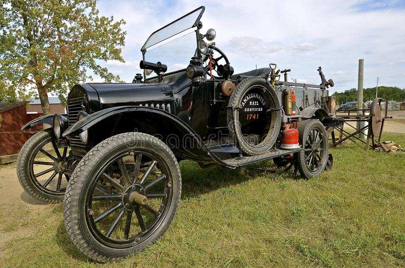 Model T Ford Truck. ROLLAG, MINNESOTA, Sept 1. 2016: An old Model T Ford truck is displayed at the West Central Steam Threshers Reuion in Rollag, MN attended by stock photo