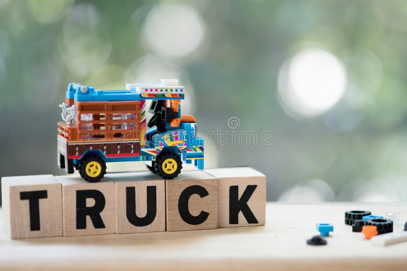 Model toy traditional Thai farming trucks transporting agriculture to the factory. Etan Thai Farm Trucks are ubiquitous on Isaan rural roads royalty free stock photo