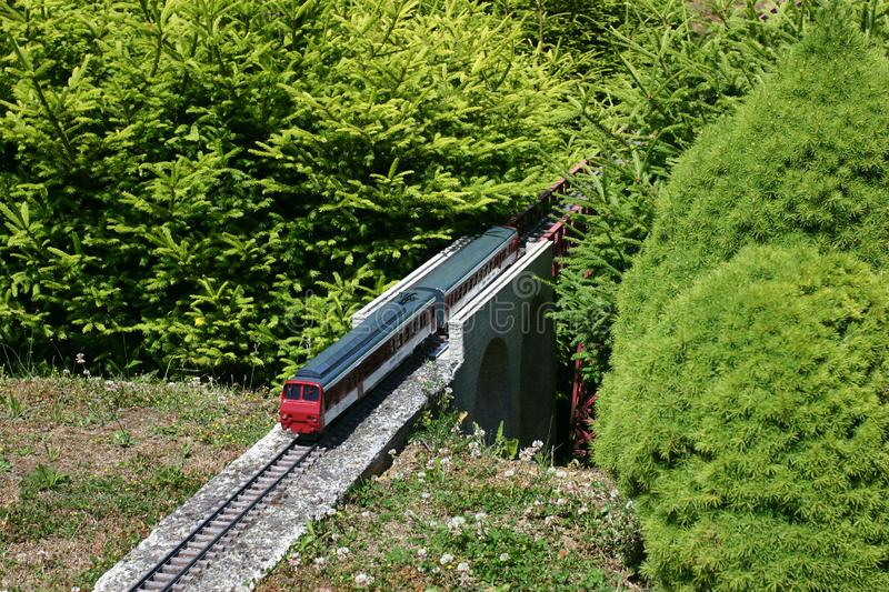 Download Model Of Train Between Miniature Firs Stock Image - Image: 1144401