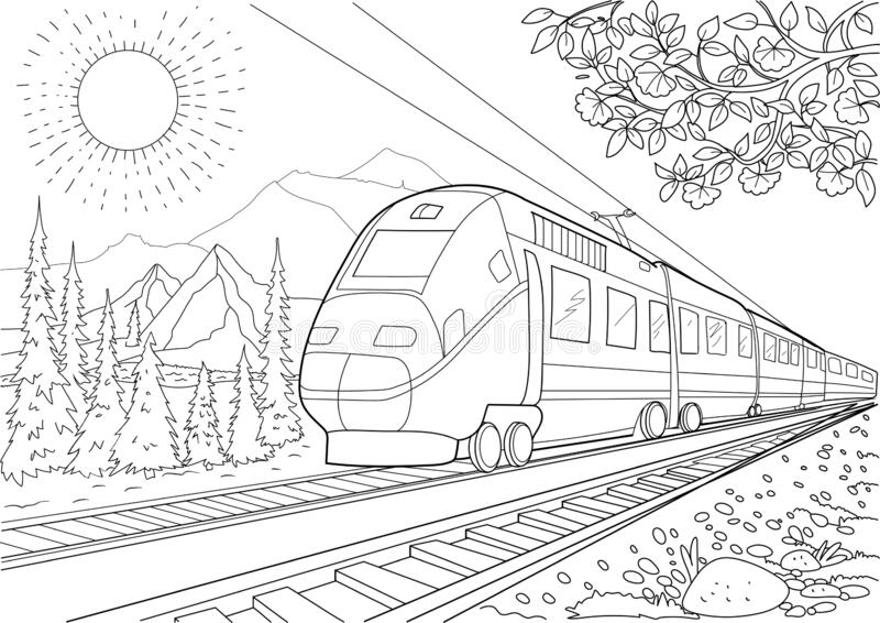 Model Train On Railroad Coloring Page The Mountains Stock Vector Illustration Of Move Modern 194399580